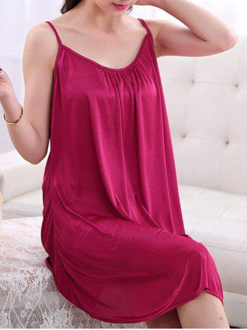 Outfit Alluring Pure Color Spaghetti Strap Backless Babydoll For Women - 3XL CLARET Mobile
