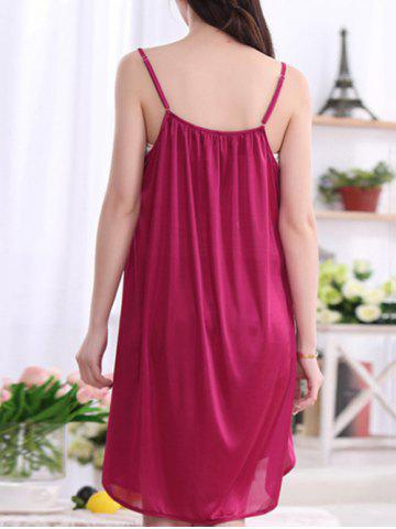 Online Alluring Pure Color Spaghetti Strap Backless Babydoll For Women - 3XL CLARET Mobile