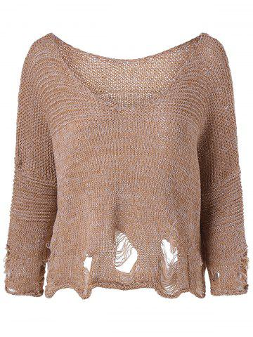 Chic Scoop Neck Ripped Pullover Sweater