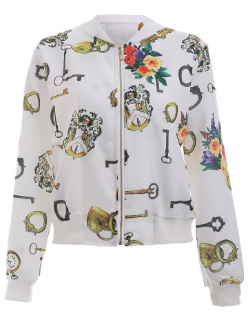 Best Floral Printed Long Sleeve Stand Collar Bomber Jacket