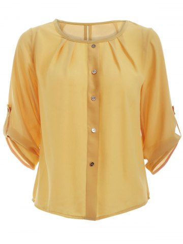 Online Candy Color 3/4 Sleeve Scoop Neck Blouse