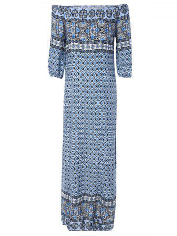Buy Off The Shoulder Ethnic Print Dress