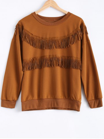 Affordable Round Neck Long Sleeve Fringed Sweatshirt