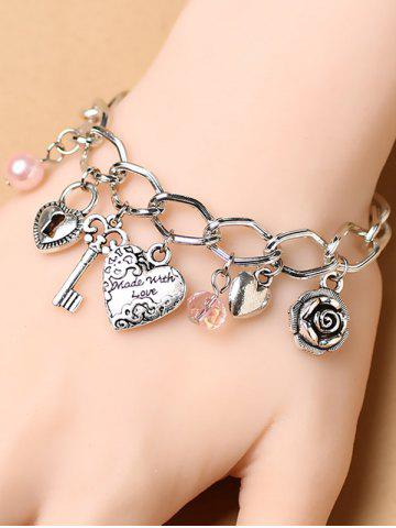 Latest Stylish Heart Key Lock Charm Bracelet