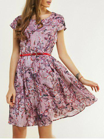 Best Elegant Round Neck Floral Print A Line Dress