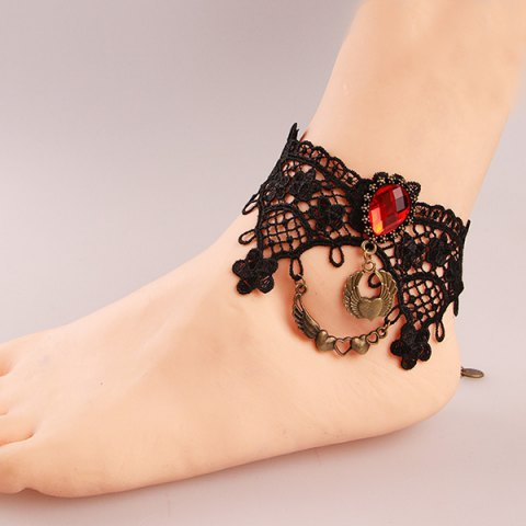 Outfits Stylish Black Lace Crochet Teardrop Heart Charm Anklet For Women