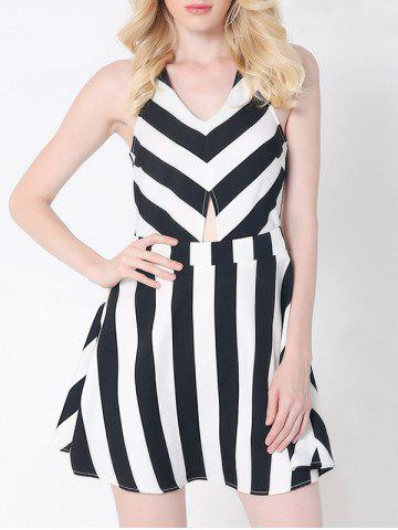 Affordable Stylish Striped Criss-Cross Dress For Women