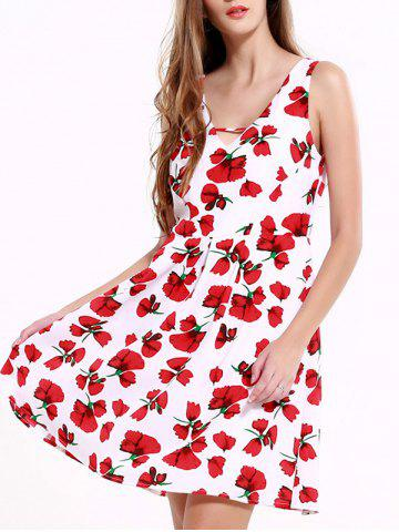 Fashion Stunning V-Neck Backless Floral Dress For Women RED WITH WHITE 2XL