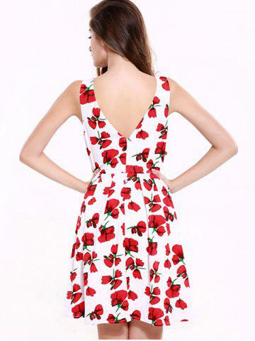 New Stunning V-Neck Backless Floral Dress For Women - 2XL RED WITH WHITE Mobile