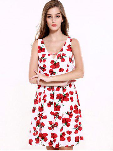 Latest Stunning V-Neck Backless Floral Dress For Women - 2XL RED WITH WHITE Mobile