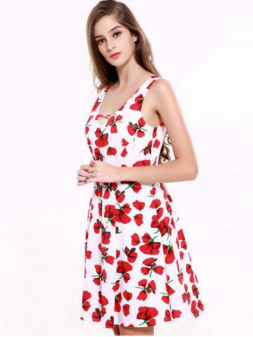 Affordable Stunning V-Neck Backless Floral Dress For Women - 2XL RED WITH WHITE Mobile