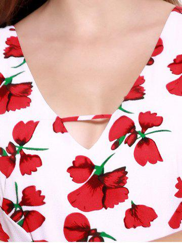 Trendy Stunning V-Neck Backless Floral Dress For Women - 2XL RED WITH WHITE Mobile