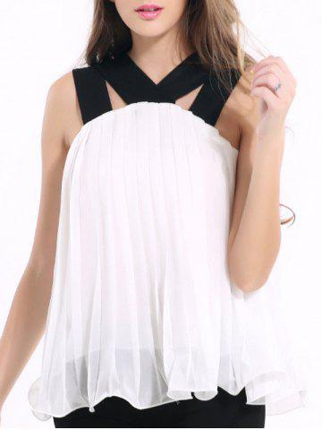 Buy Chic Strappy Pleated Chiffon Tank Top For Women