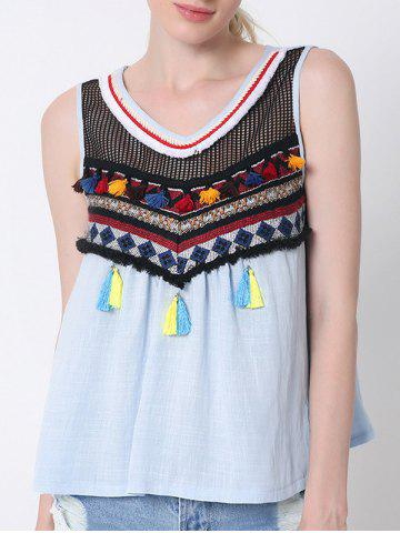 Chic Ethnic Airtex Splicing Tassel Tank Top For Women