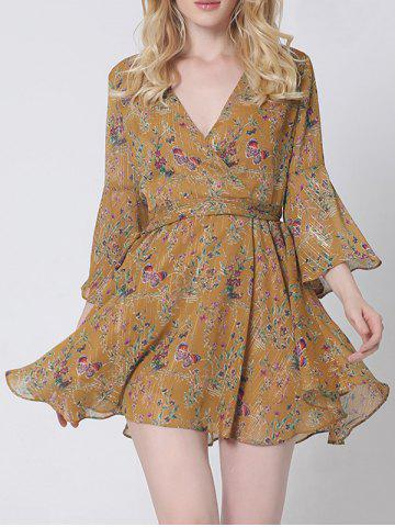 Unique Graceful Flare Sleeve Floral Wrap Dress For Women