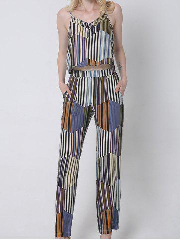 Shop Casual Hit Color Tank Top and Striped Pants Set For Women BLUE 2XL