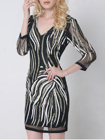 Sequined V Neck Sheath Bodycon Dress With Sleeves
