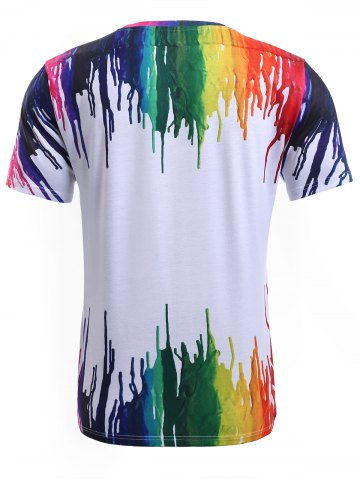 New 3D Colorful Splatter Paint Round Neck T-Shirt - M WHITE Mobile