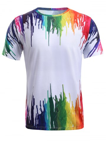 Discount 3D Colorful Splatter Paint Round Neck T-Shirt - M WHITE Mobile