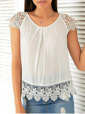 Shop Sweet Cap Sleeve Lace Patchwork Blouse
