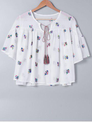 Shops Stylish Embroidered Tie Neck Blouse For Women