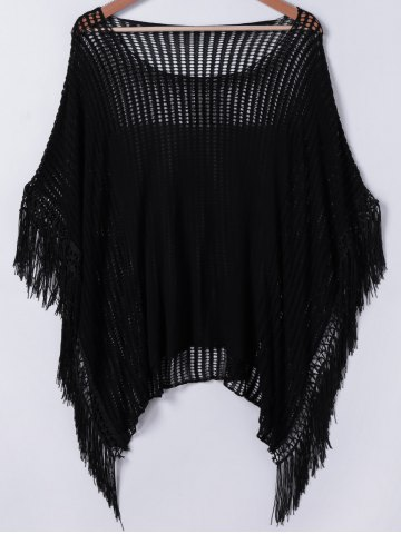 Trendy Sweet Hollow Out Fringed Blouse