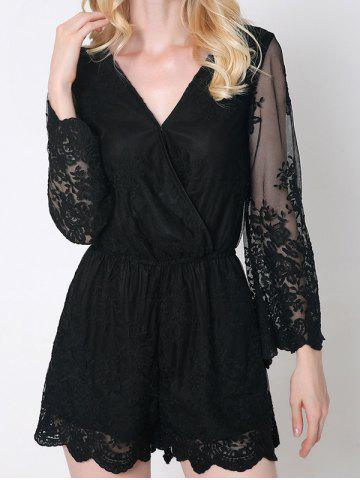 New Trendy Flare Sleeve Laciness Wrap Romper For Women BLACK 2XL