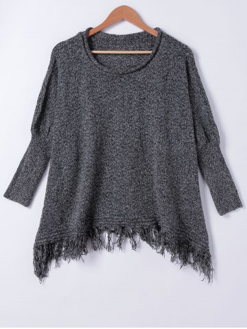 Outfit Chic Loose Fitting Fringed Sweater BLACK GREY ONE SIZE(FIT SIZE XS TO M)
