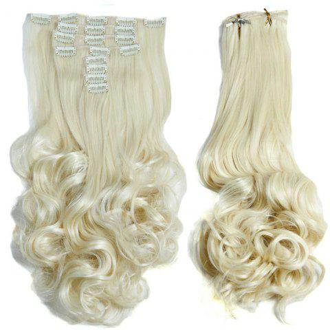 Latest Medium Curly High Temperature Fiber Clip In Hair Extension For Women - OFF-WHITE  Mobile