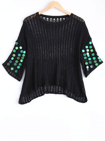 Hot Freshing Openwork Sequin Embelllished Knitwear