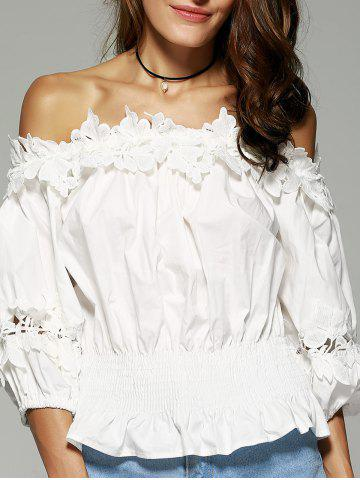 Sale Off The Shoulder Laciness Waisted Blouse