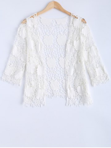 Fancy Crochet Embroidery Short Sleeve Cover-Up
