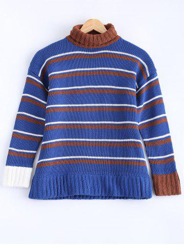 Trendy Fashionable Turtle Neck Striped Sweater