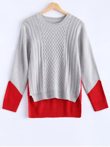 Online Fashionable Color Block Asymmetric Sweater