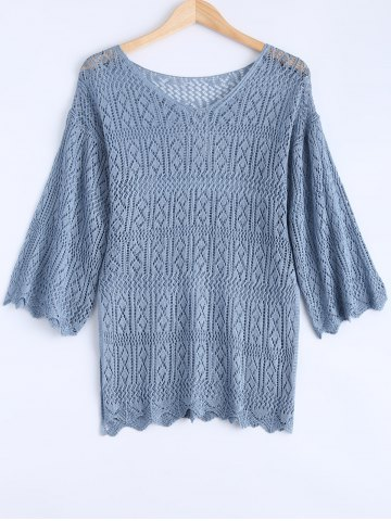 Unique Solid Color V-Neck Bell Sleeve Crochet Sweater