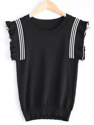 Fashion Scoop Neck Flare Sleeve Knit T-Shirt