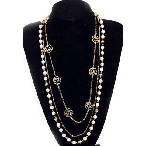 Online Faux Pearl Rose Layered Sweater Chain