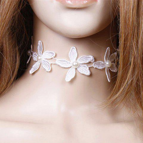 Fashion Floral Lace Faux Pearl Wedding Jewelry Choker WHITE