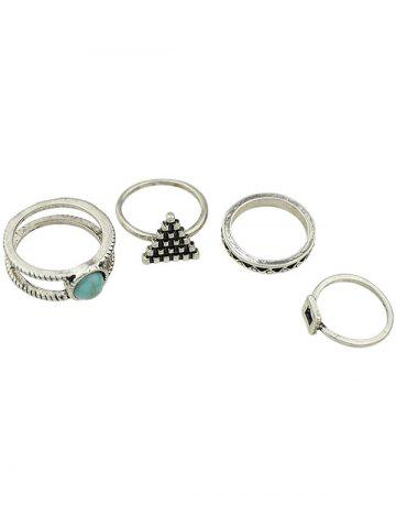 Sale Faux Turquoise Geometric Rings