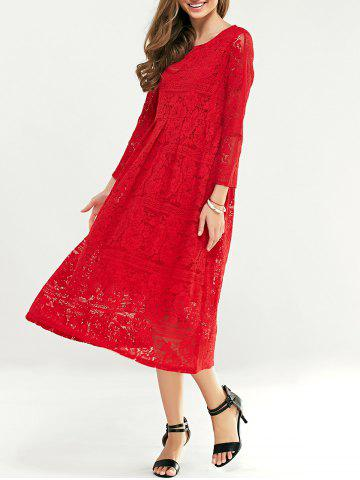 Lace Tea Length Long Sleeve Party Dress - Red - 4xl
