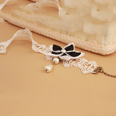 Outfits Lace Faux Pearl Blossom Embellished Anklet - WHITE AND BLACK  Mobile