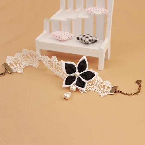 Online Lace Faux Pearl Blossom Embellished Anklet - WHITE AND BLACK  Mobile
