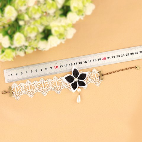 New Lace Faux Pearl Blossom Embellished Anklet - WHITE AND BLACK  Mobile