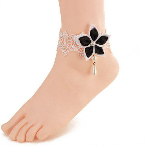 Lace Faux Pearl Blossom Embellished Anklet - White And Black - 4xl
