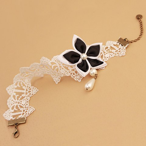 Sale Lace Faux Pearl Blossom Embellished Anklet - WHITE AND BLACK  Mobile
