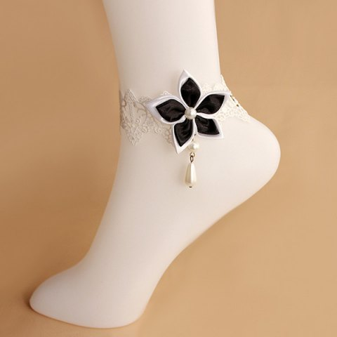 Shops Lace Faux Pearl Blossom Embellished Anklet - WHITE AND BLACK  Mobile