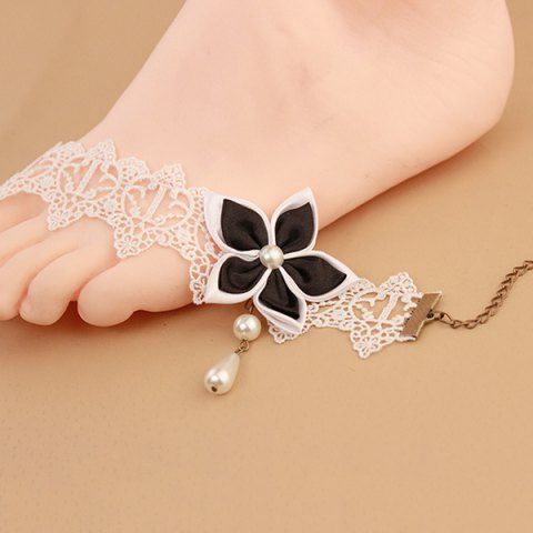 Latest Lace Faux Pearl Blossom Embellished Anklet - WHITE AND BLACK  Mobile