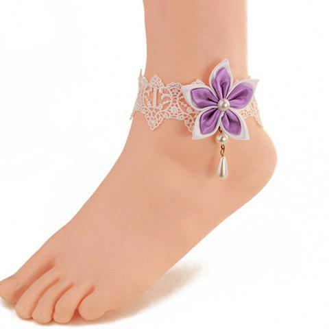 Shops Delicate White Lace Faux Pearl Bauhinia Embellished Anklet For Women