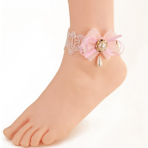 Latest Sweet White Lace Bowknot Faux Pearl Decorative Anklet For Women