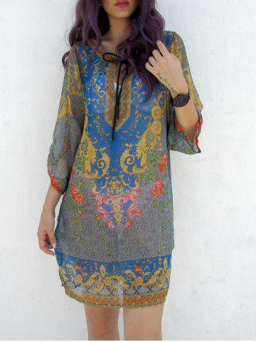 Outfits Bohemia V-Neck 3/4 Sleeve Printed Lace-Up Women's Dress